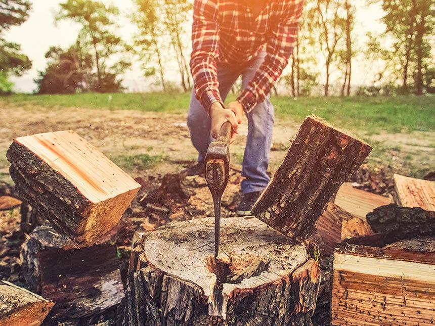 Man Splitting Wood