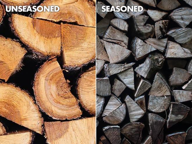 Seasoned and Unseasoned Firewood
