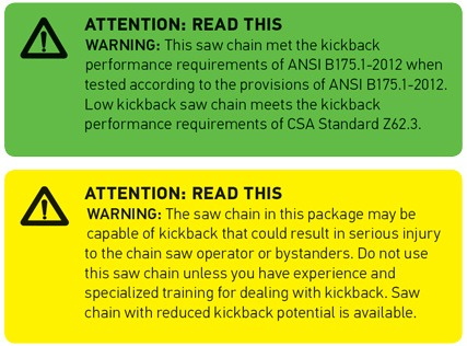 Green & Yellow ANSI Warning Labels for Chainsaw Chains